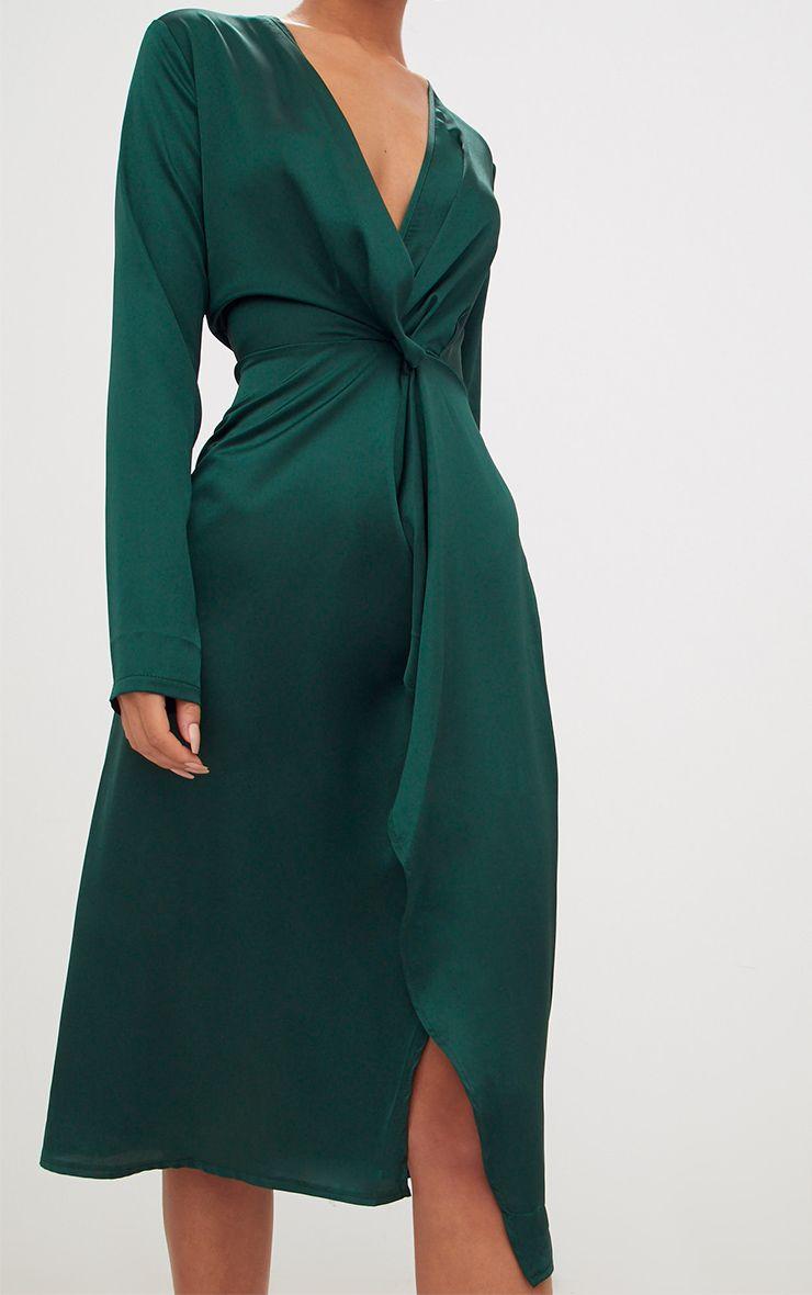Emerald Green Satin Long Sleeve Wrap Midi Dress
