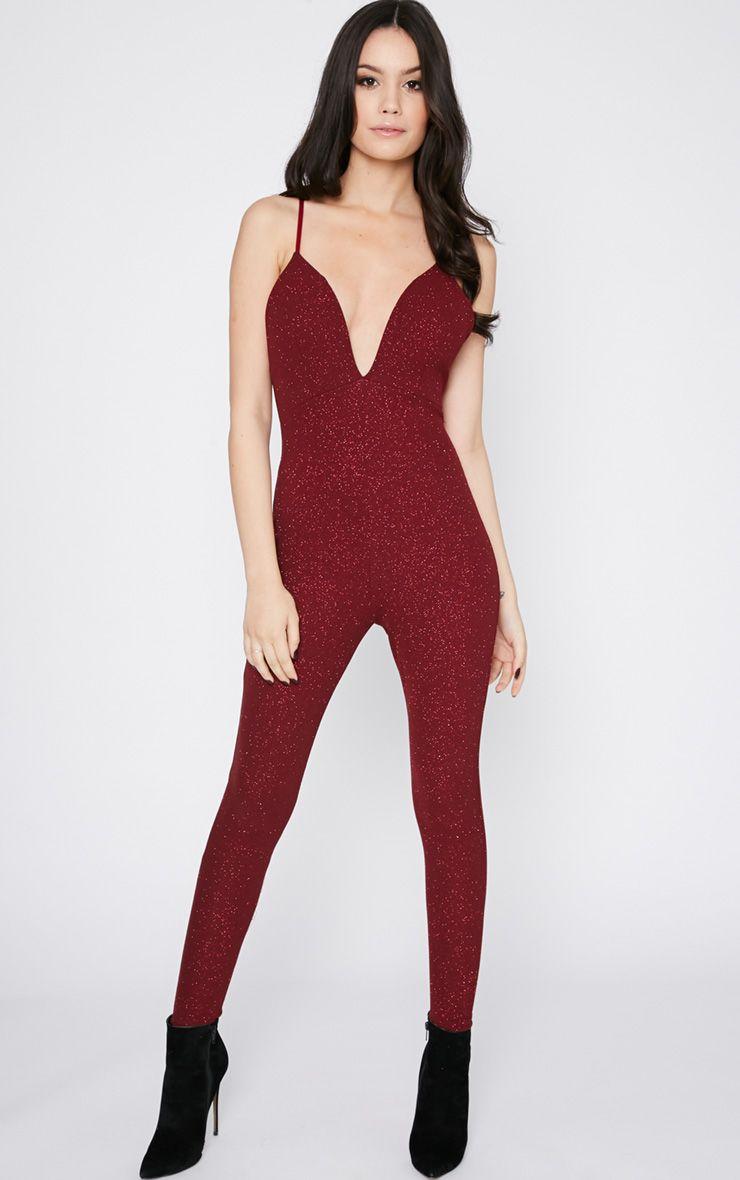 Kotori Red Glitter Plunge Jumpsuit  1