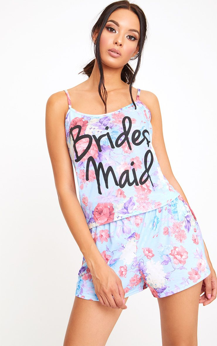 Blue Bridesmaid Floral PJ Set