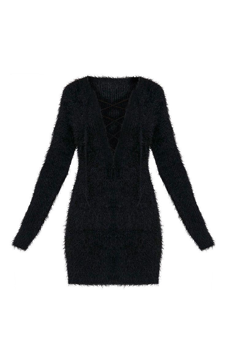 Floraline robe pull noire en mohair à lacets 3