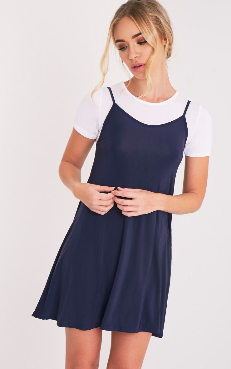 Abby Navy Slinky Swing Dress