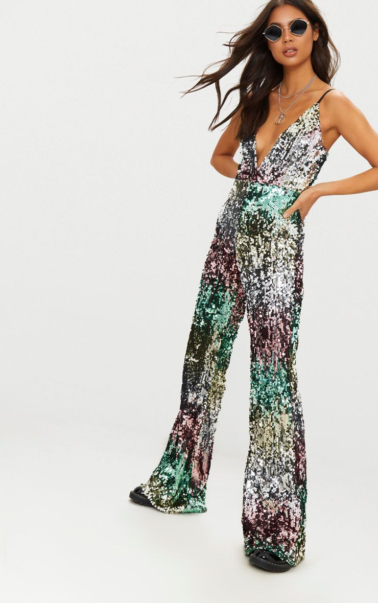 b018bcb5e1 multi-sequin-plunge-jumpsuit by prettylittlething