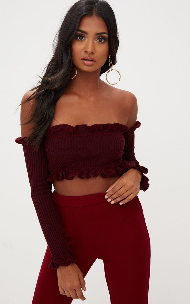 Burgundy Ruffle Detail Knit Bardot Long Sleeve Top