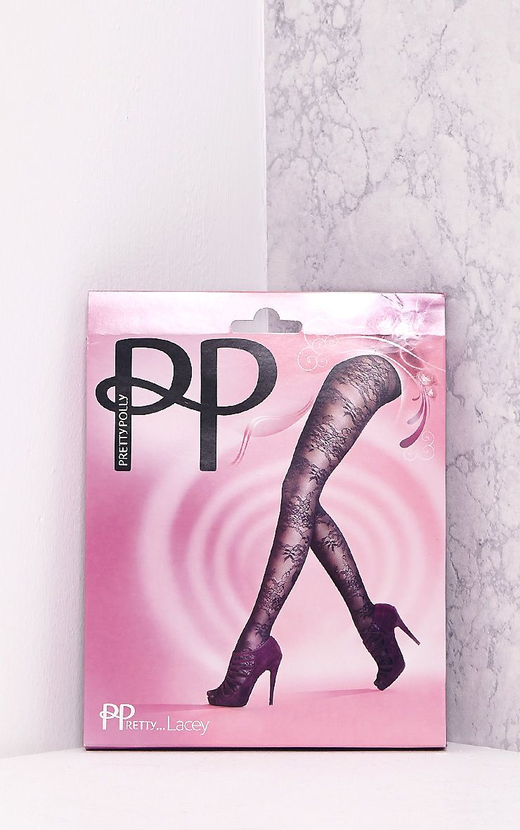 Collants noirs dentelle à motif floral Pretty Polly 4