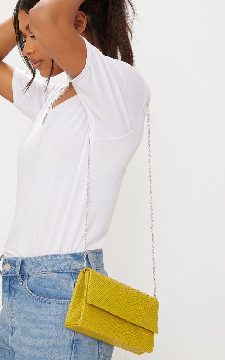 Lime Croc Chain Strap Bag 1