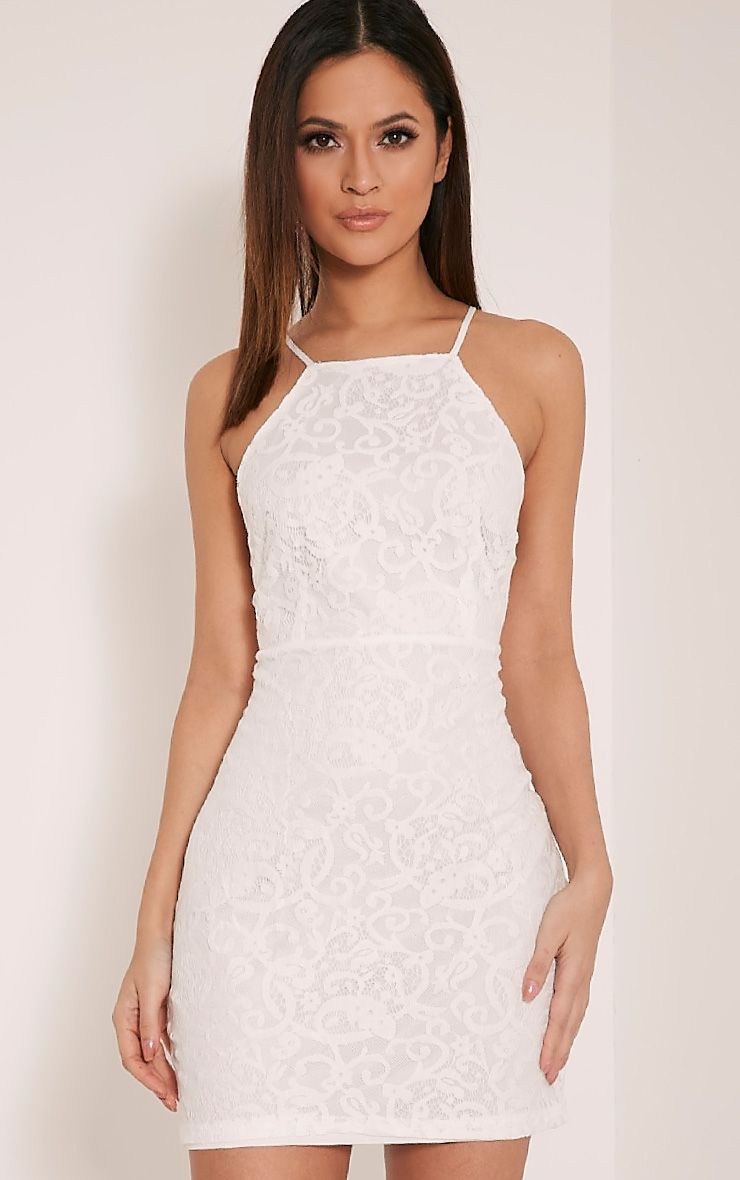 Elora White Cross Back Lace Mini Dress