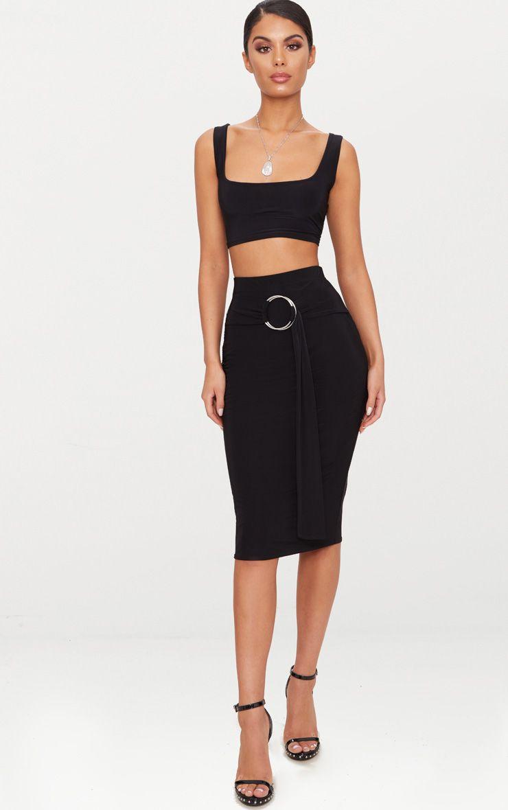 Black Slinky O Ring Belt Midi Skirt