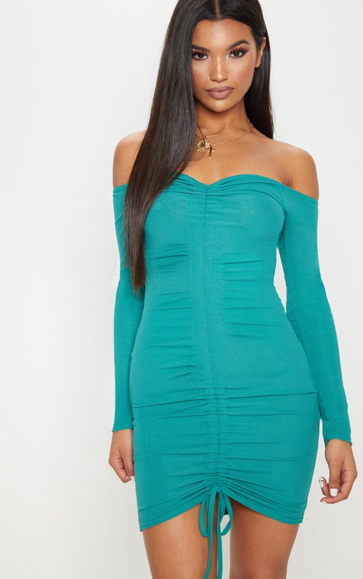 c5810e119ece Shoptagr | Deep Turquoise Ribbed Long Sleeve Bardot Ruched Bodycon ...