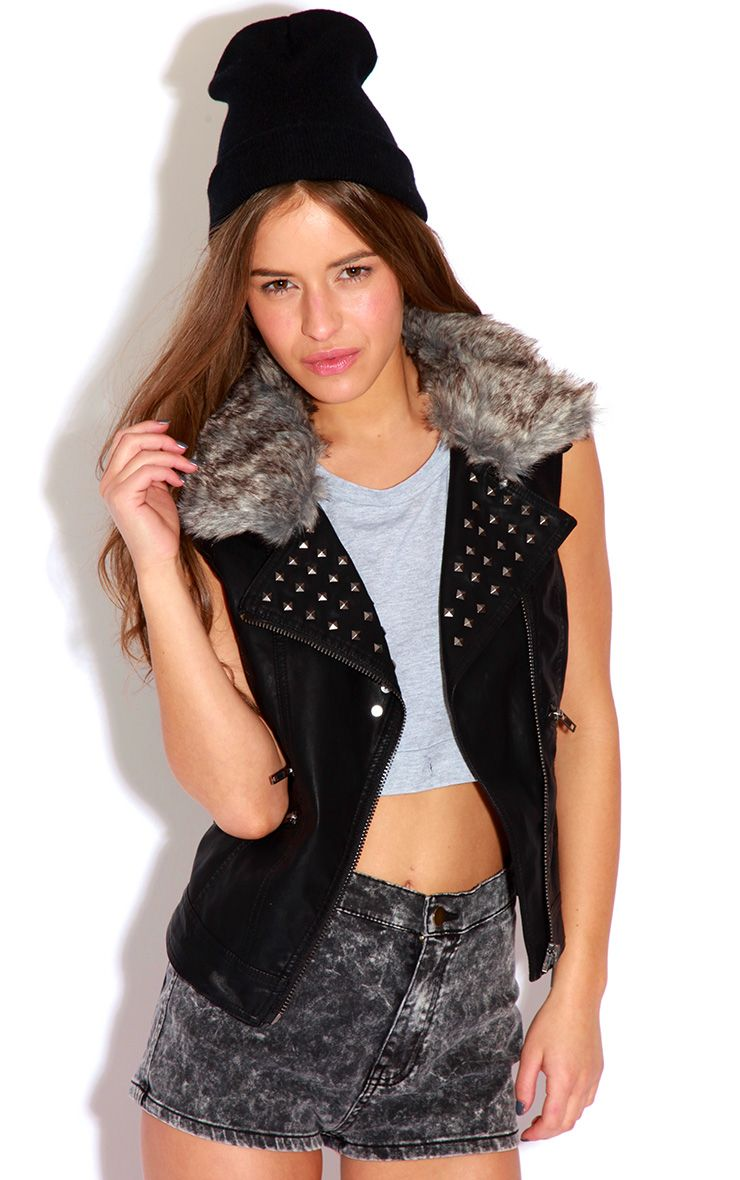 Product photo of Jeni sleeveless leather stud jacket with fur collar black