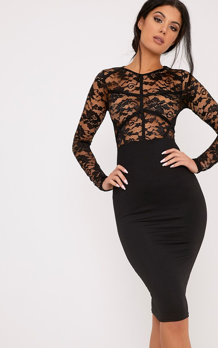 Aspen Black Lace Contrast Midi Dress