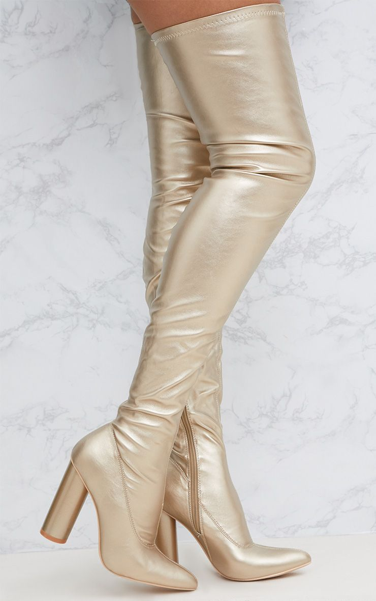 Gold PU Thigh Boot