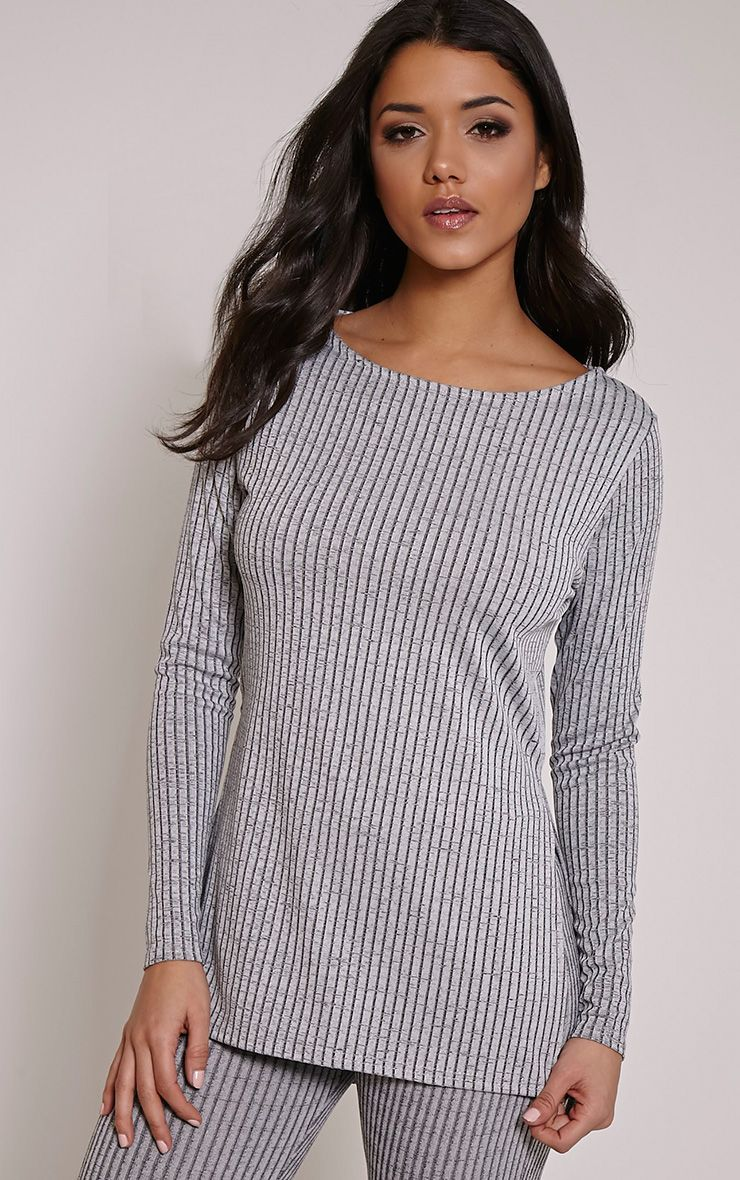 Anna Grey Ribbed Long Sleeve Side Split Top 1