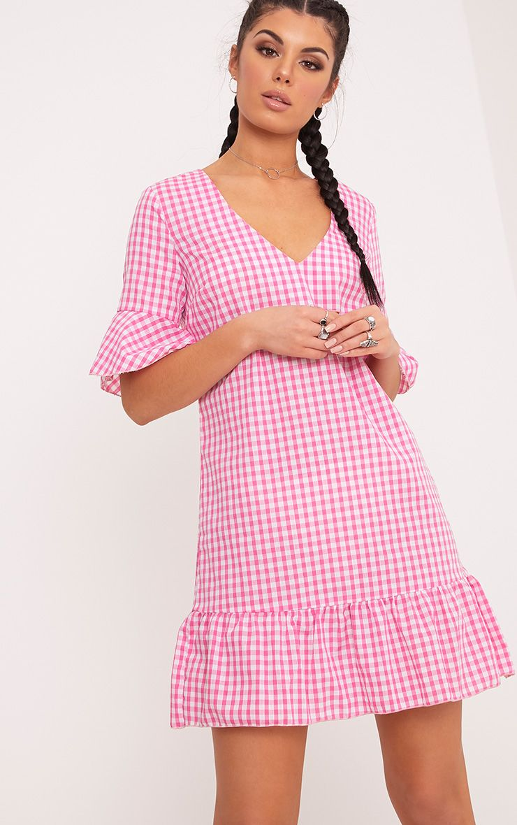 Fenaline Pink Gingham Plunge Frill Detail Shift Dress  1