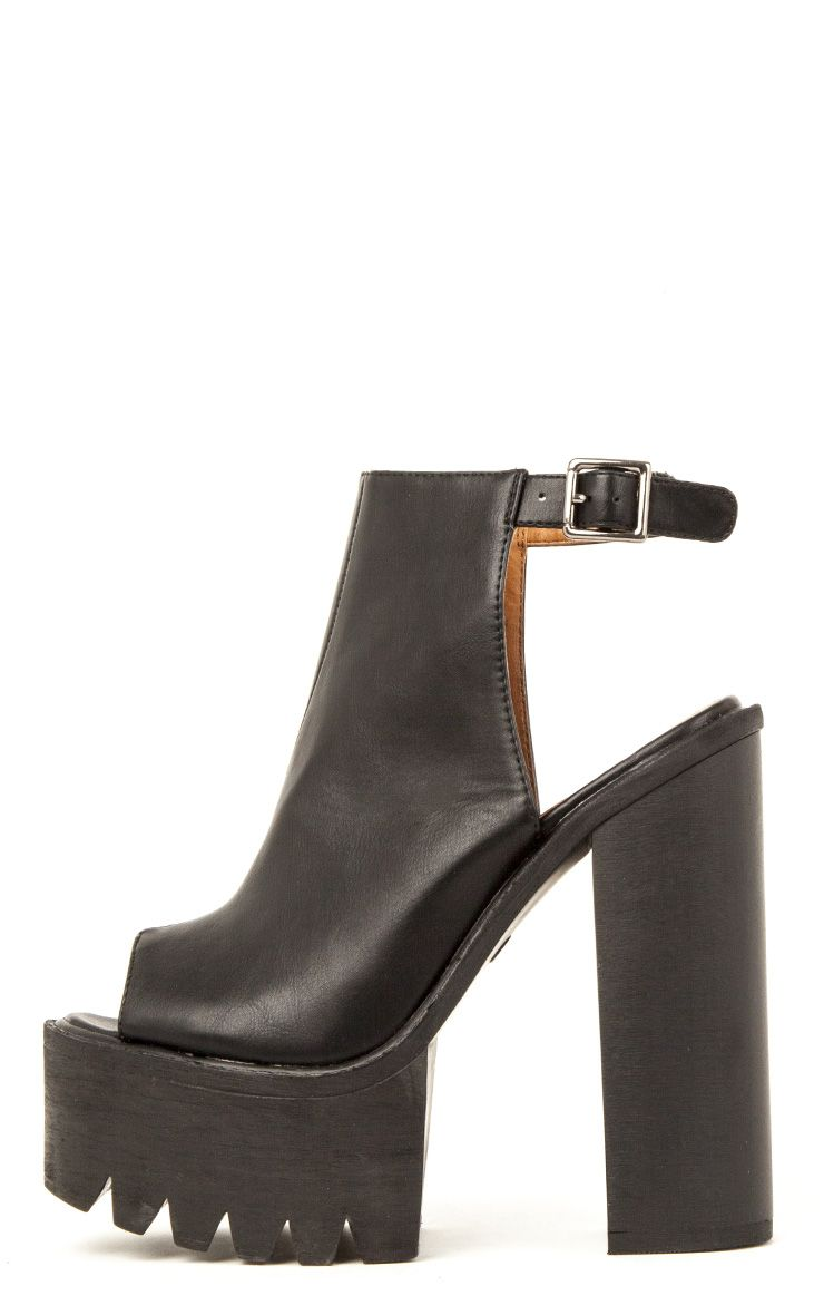 Carmen Black Sling Back Cleated Sole Shoes 1