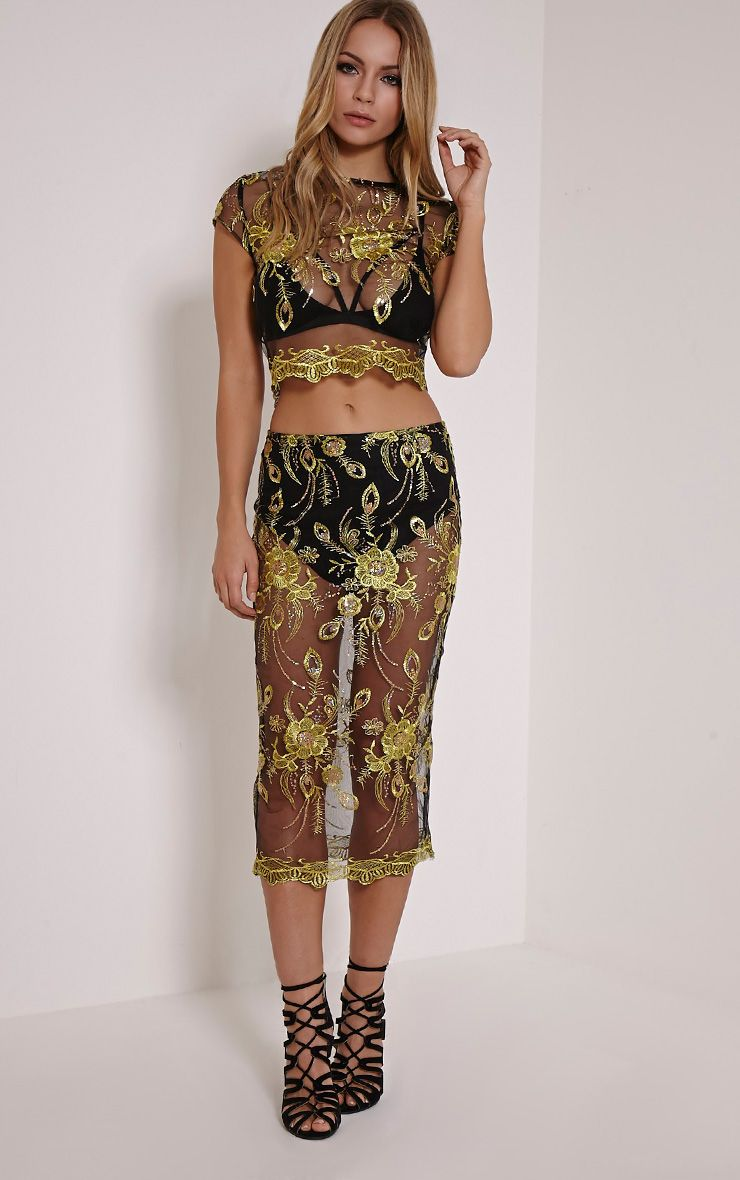Meela Gold Floral Embroidered Mesh Midi Skirt 1