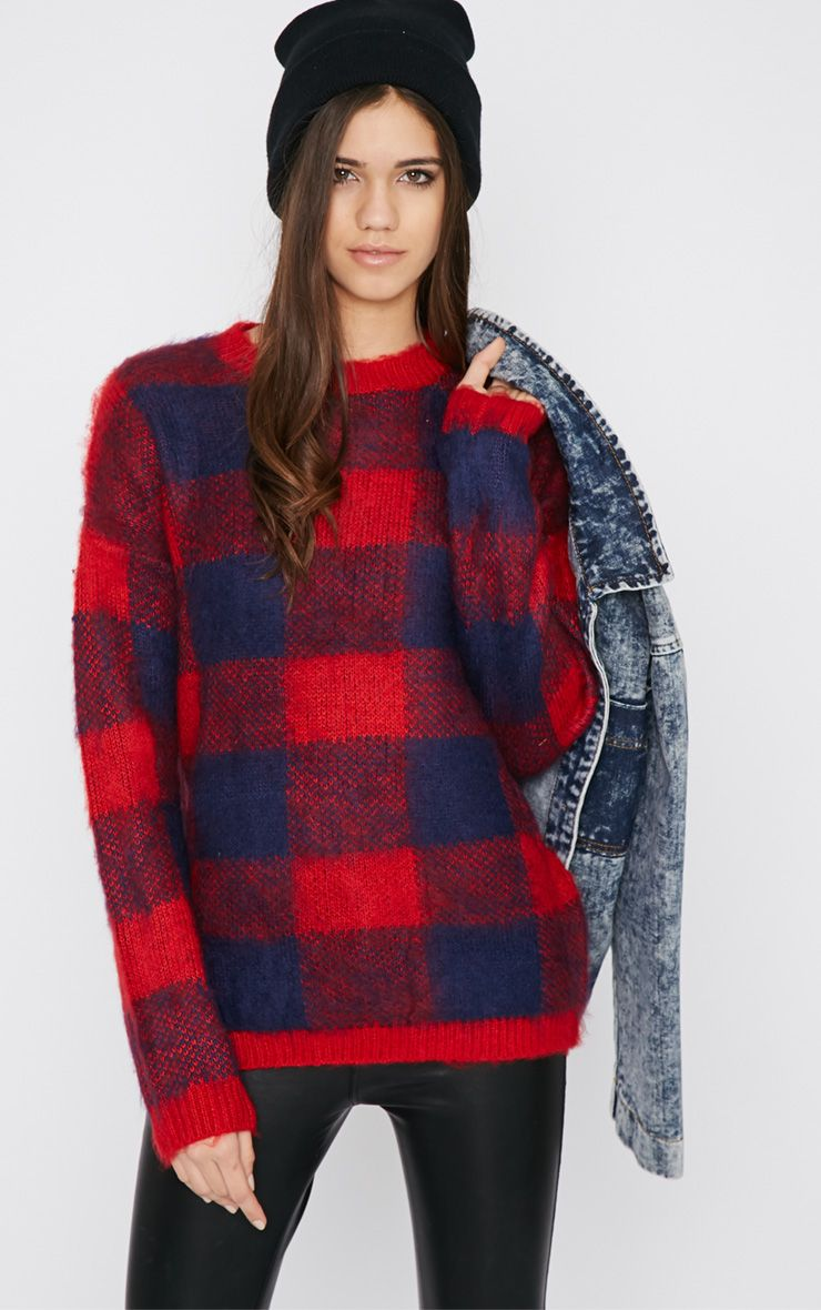 Poppy Red Checked Fluffy Jumper  1