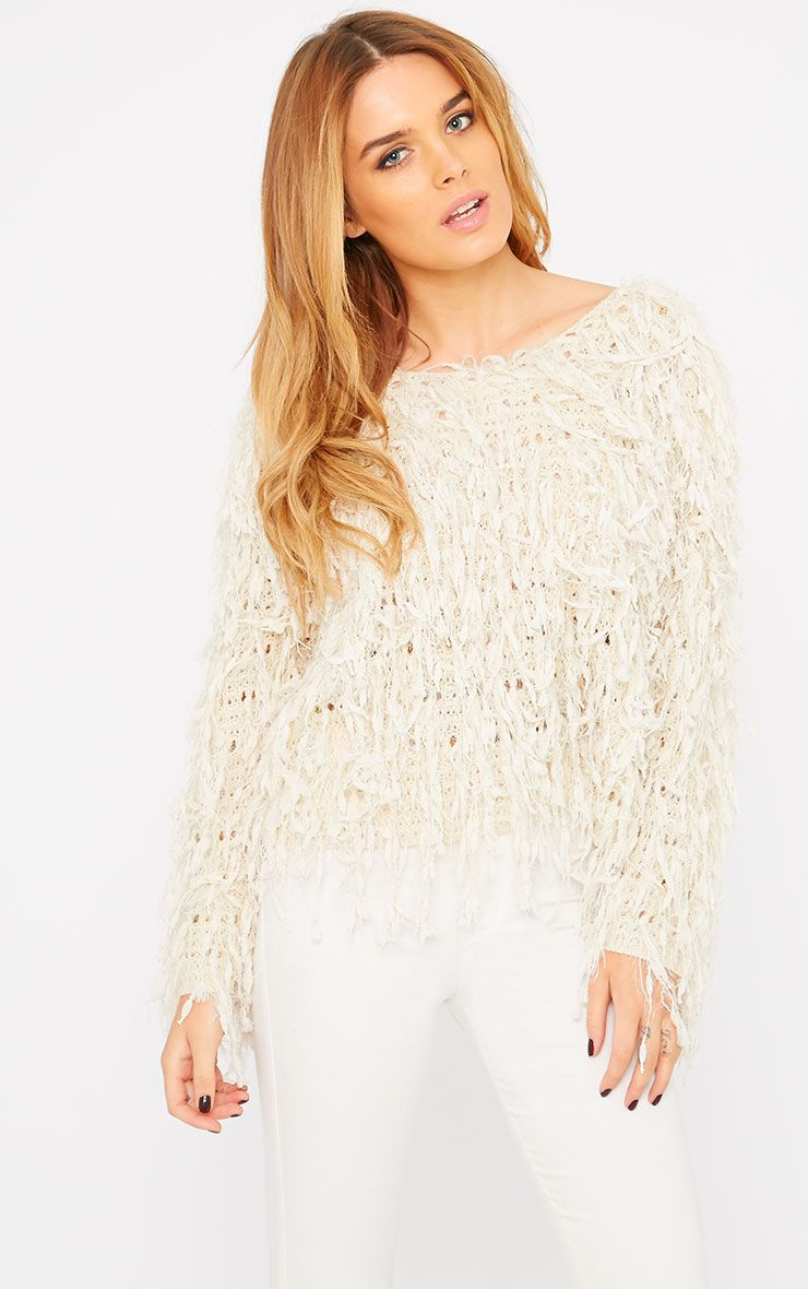 Alvery Cream Shaggy Knit Jumper  1