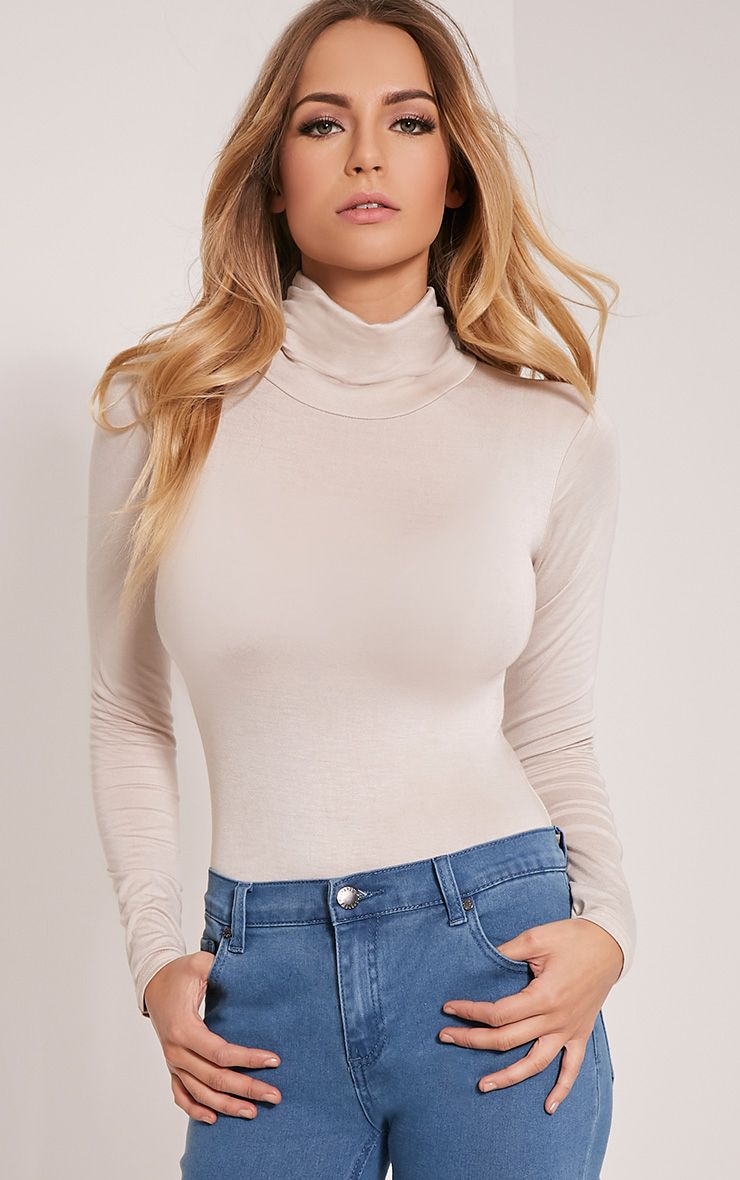 Basic Stone Roll Neck Bodysuit 1