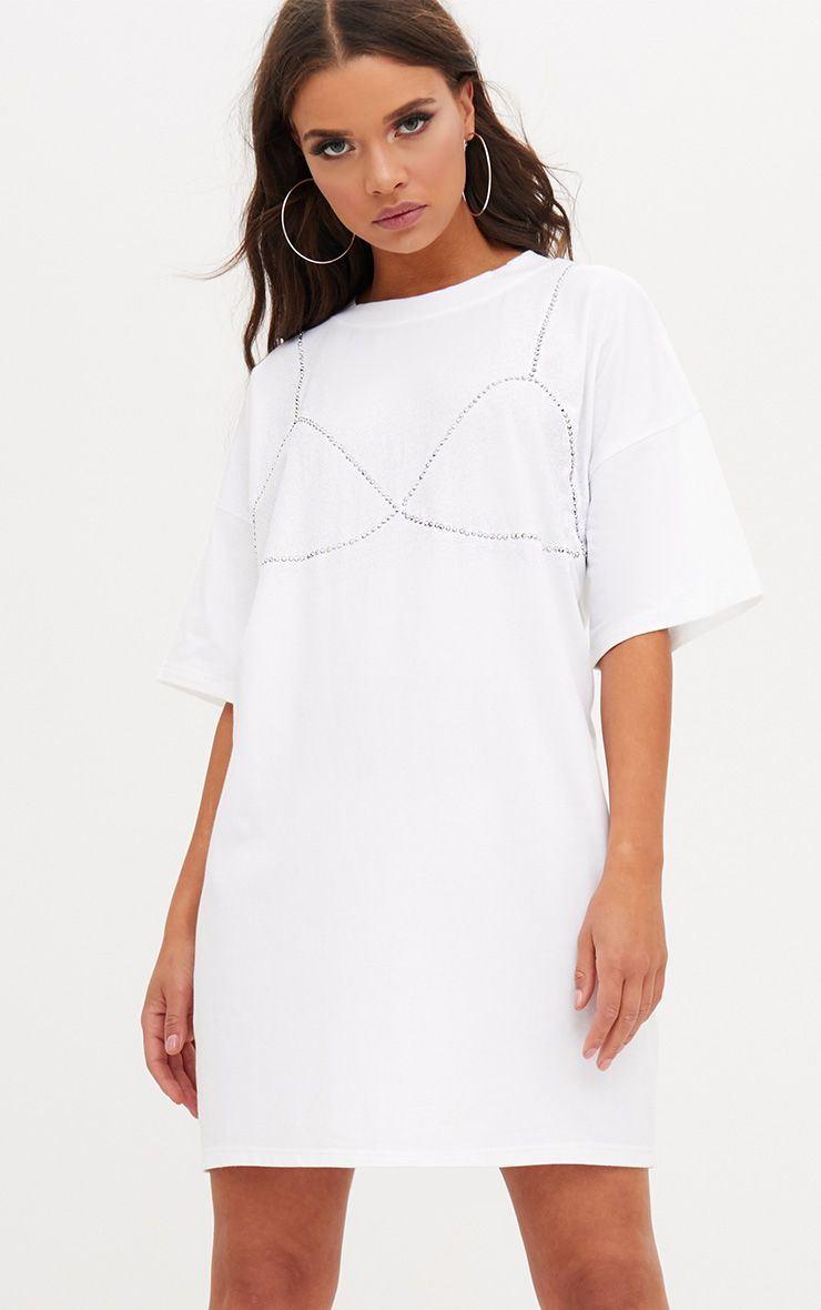 White Diamante Bra T Shirt Dress