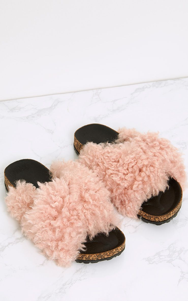 Fayah Blush Faux Shearling Sliders