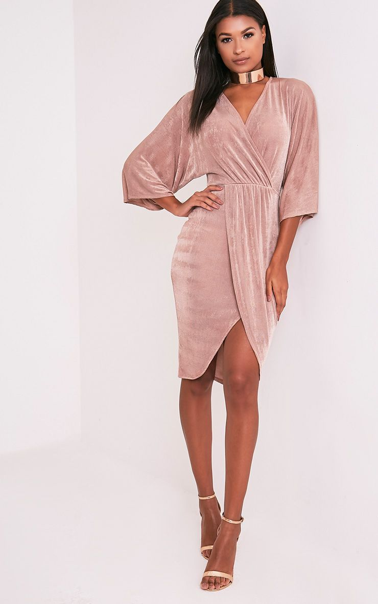 Meliana Dusty Pink Slinky Kimono Sleeve Midi Dress