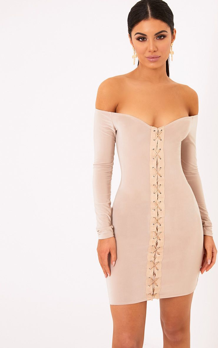 Margot Nude Lace Up Bardot Bodycon Dress