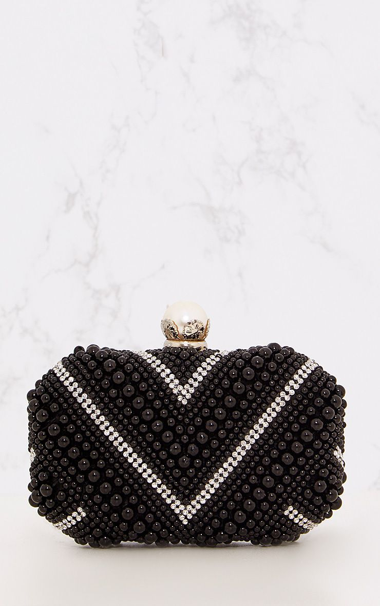 Black Bead & Diamante Clutch Bag 1