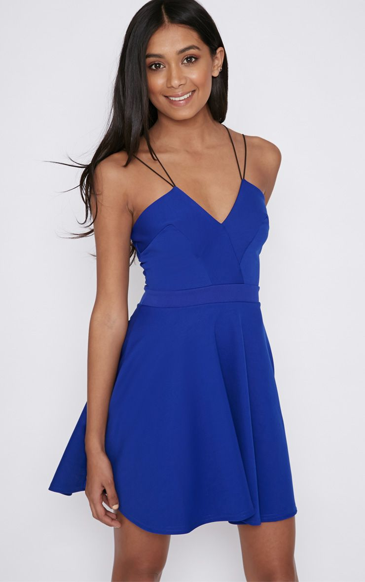 Fran Cobalt Cross Back Skater Dress 1