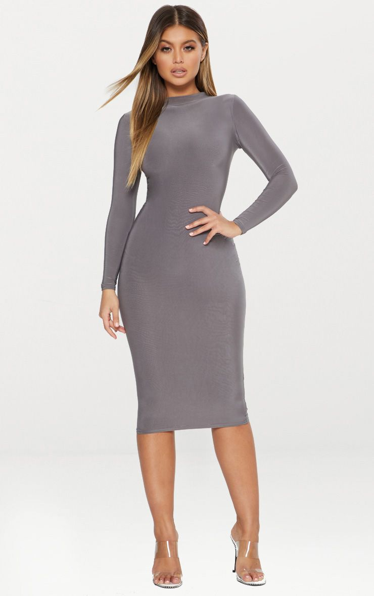 Charcoal Grey Second Skin Slinky High Neck Midaxi Dress
