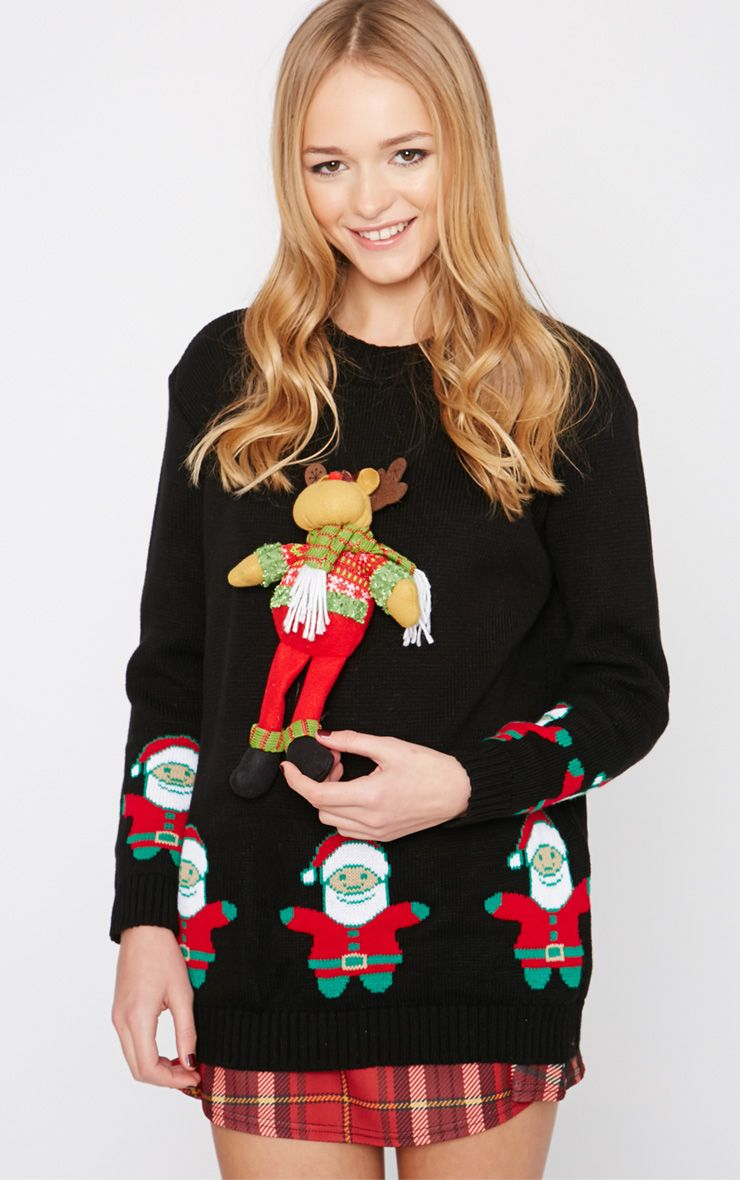 Hartley Black 3D Rudolph Toy Christmas Jumper  1