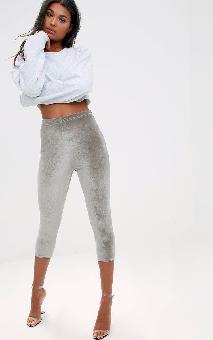 Grey Cropped Velvet Leggings