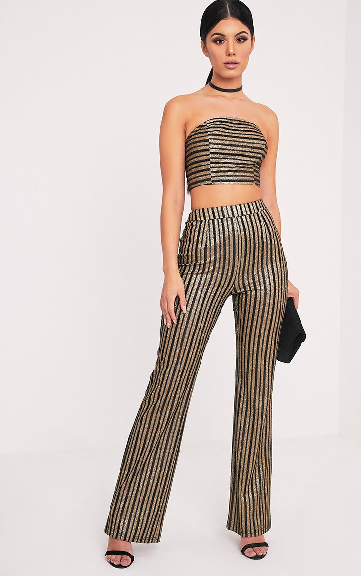 Lashelle Black Sparkle Stripe Trousers