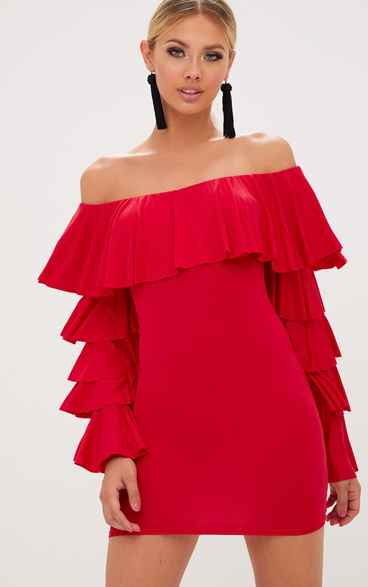 Red Ruffle Sleeve Bardot Bodycon Dress