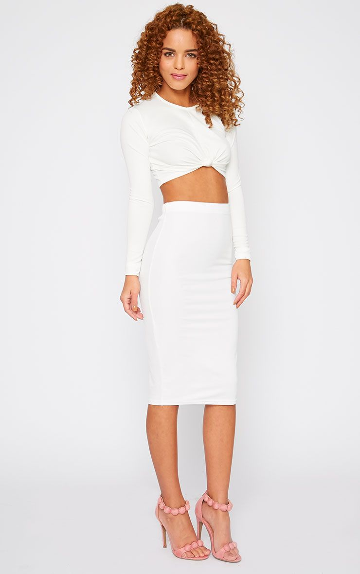 Zafia Cream Crepe Midi Skirt 1