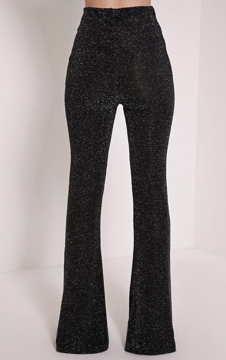 Dora Black Glitter Bell Bottom Trousers Trousers