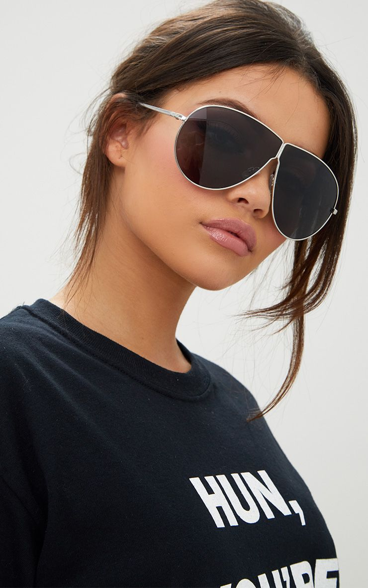 Black Oversized Dropped Lens Aviator Sunglasses