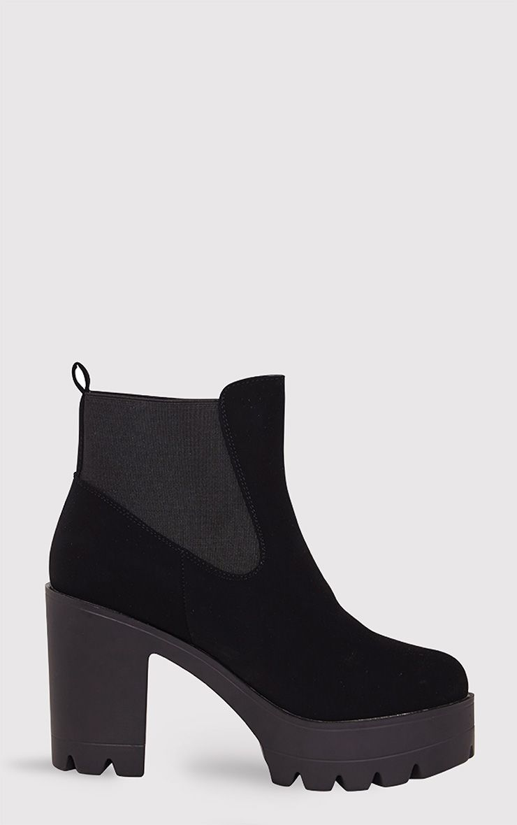 Lou Black Cleated Sole Ankle Boots