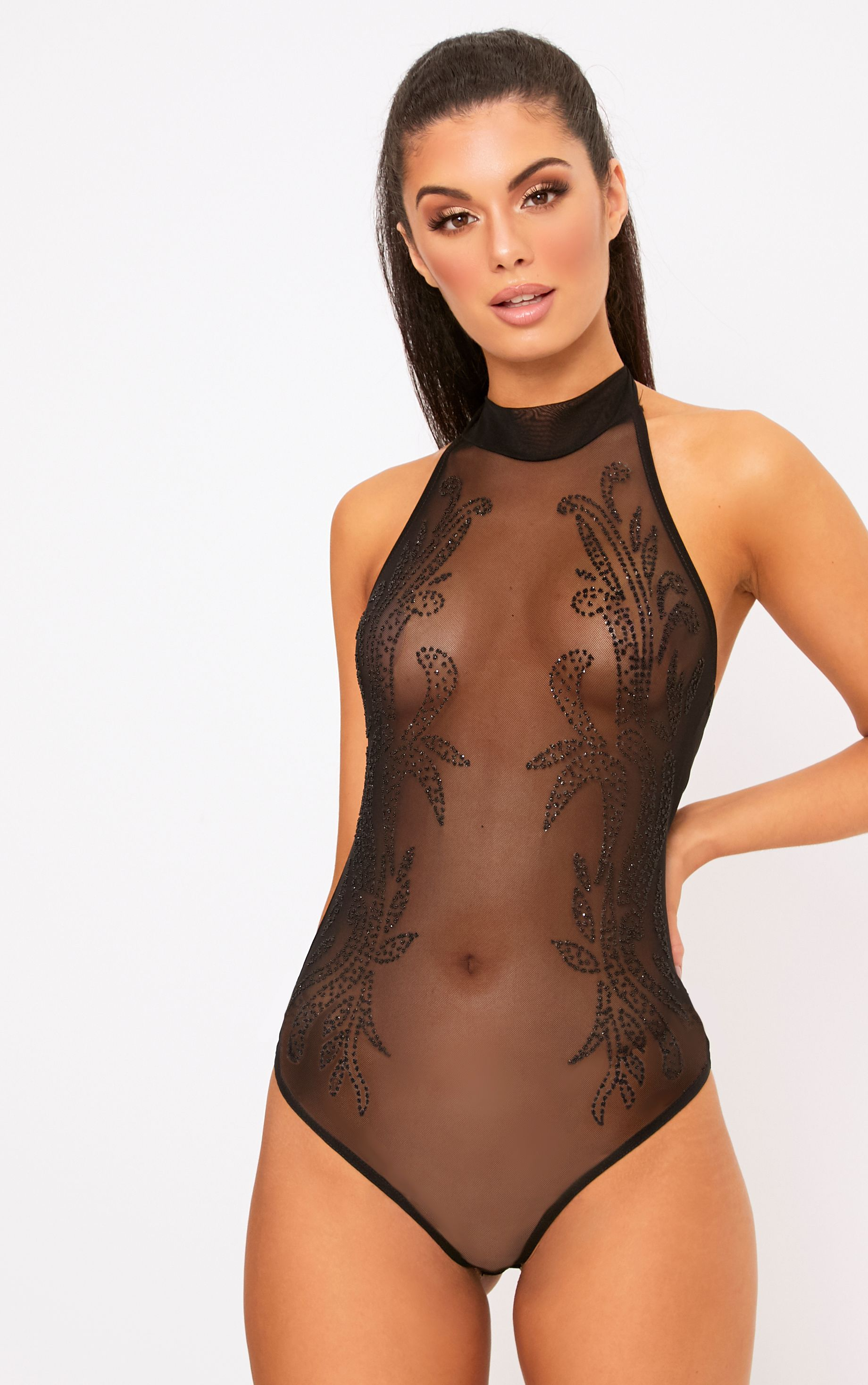 Black Caviar Beaded Mesh Bodysuit