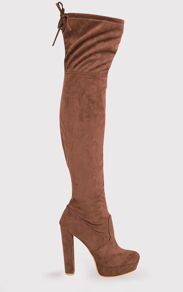 Elisabeth Mocha Faux Suede Platform Thigh High Boots
