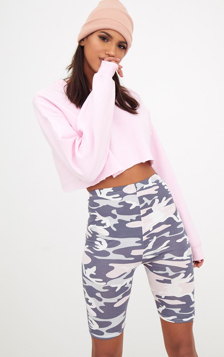 Light Pink Camo Print Cycle Shorts