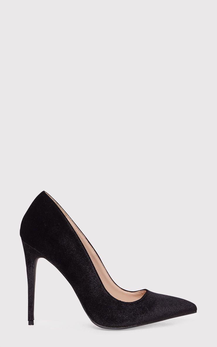 Jenessa Black Velvet Pointed Heels
