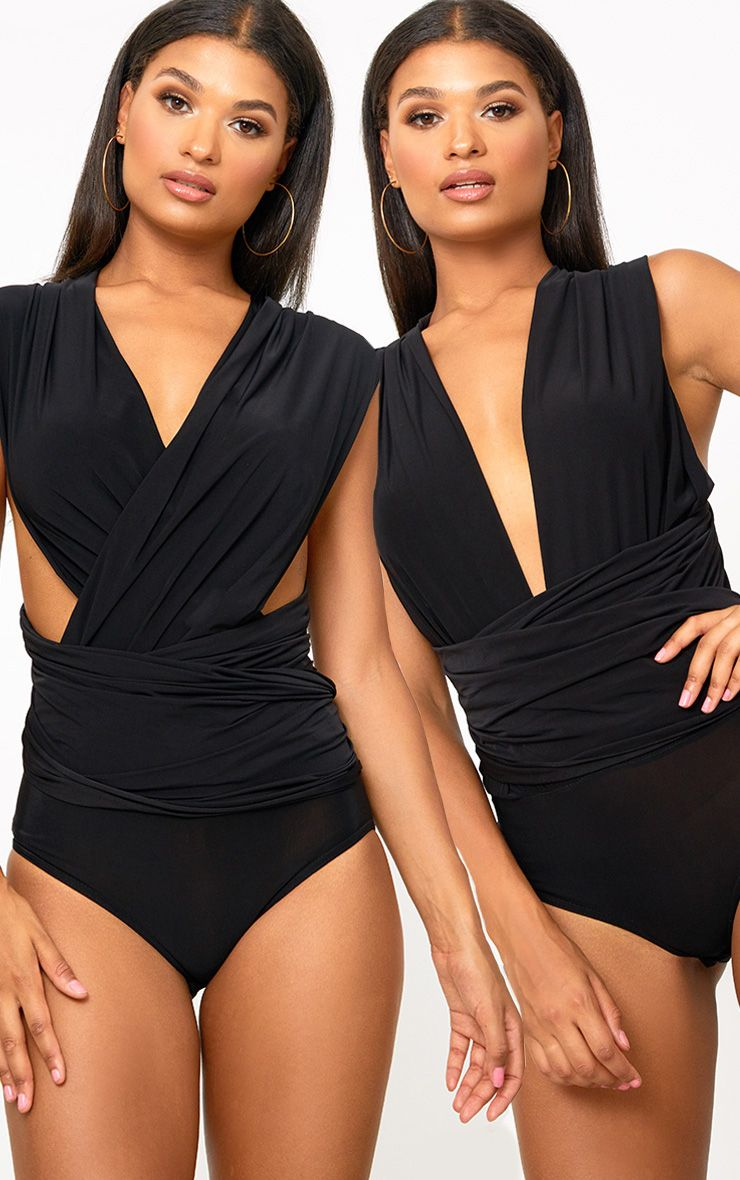 Black Multi Way Slinky Thong Bodysuit
