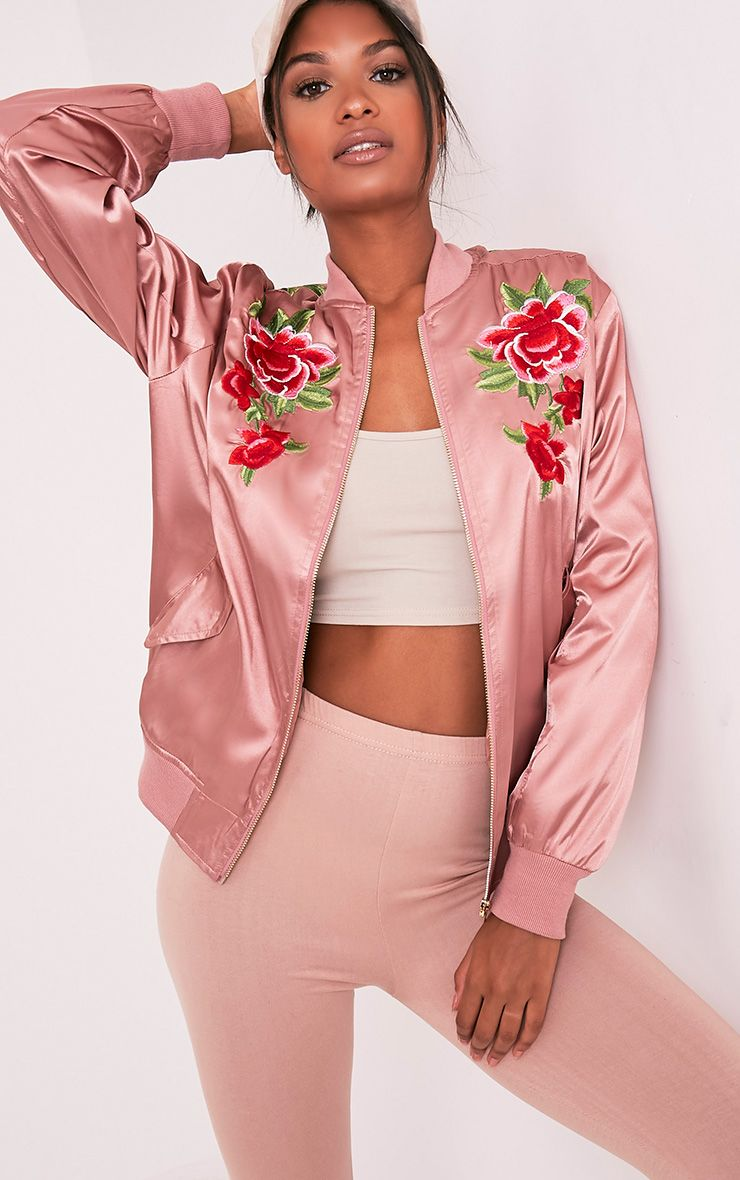 Babita Rose Satin Floral Applique Bomber Jacket