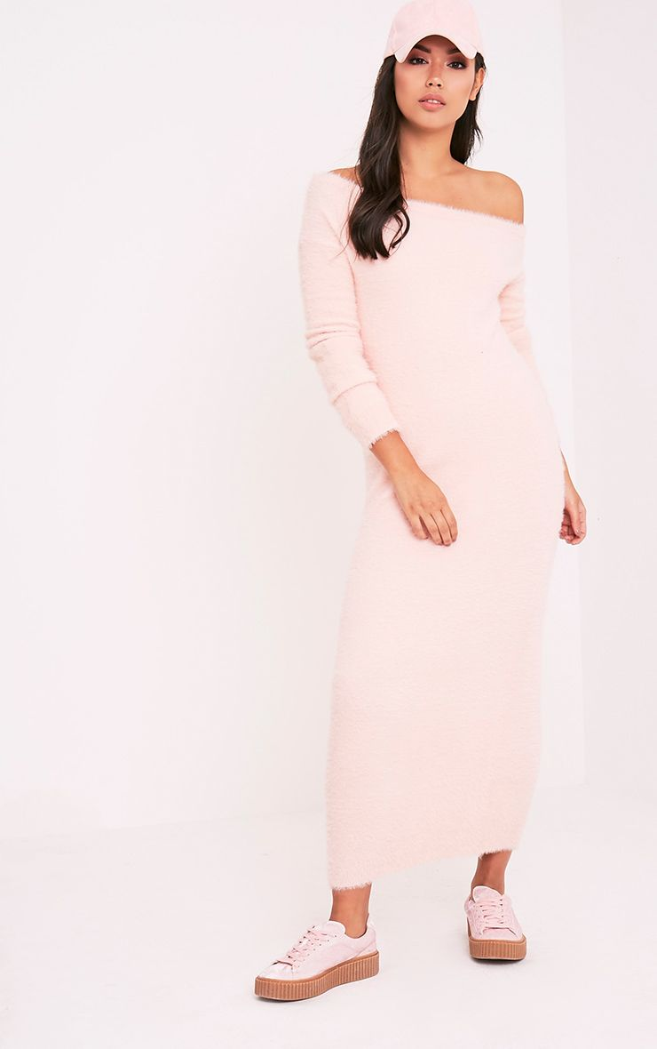 Idelle Nude Fluffy Knit Maxi Dress 1