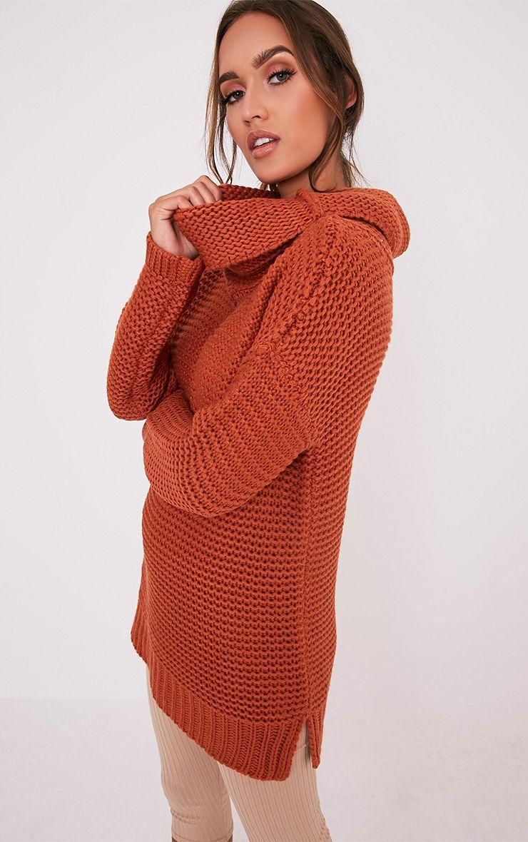 Camarina pull tricoté épais à col roulé cannelle 4