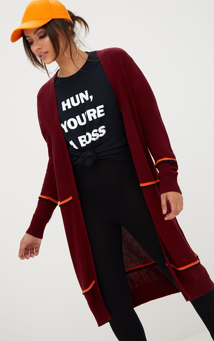 Burgandy Stripe Long Line Button Cardigan