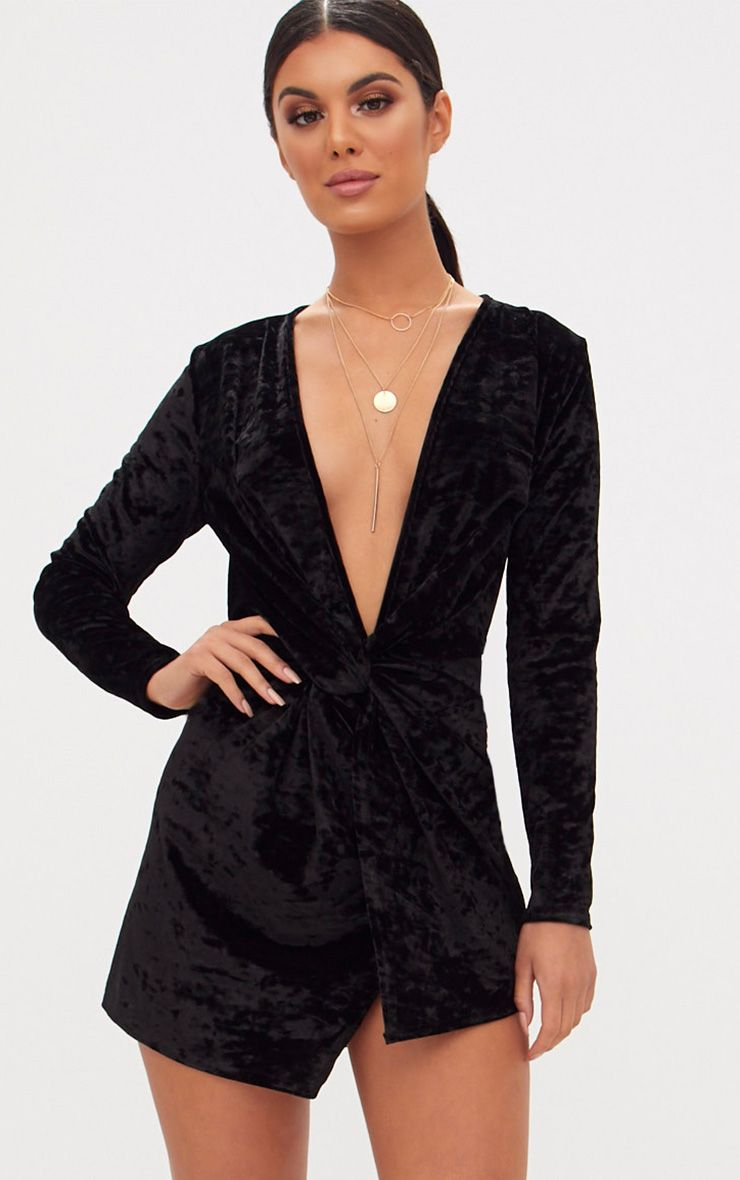 Black Velvet Knot Front Long Sleeve Bodycon Dress