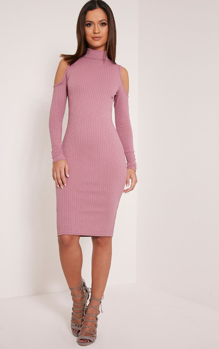 Kellie Mauve Cold Shoulder Ribbed Bodycon Dress 1
