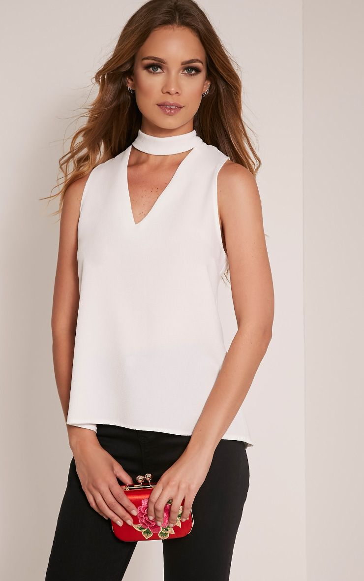 Karen Cream Cut Out Neck Shift Top