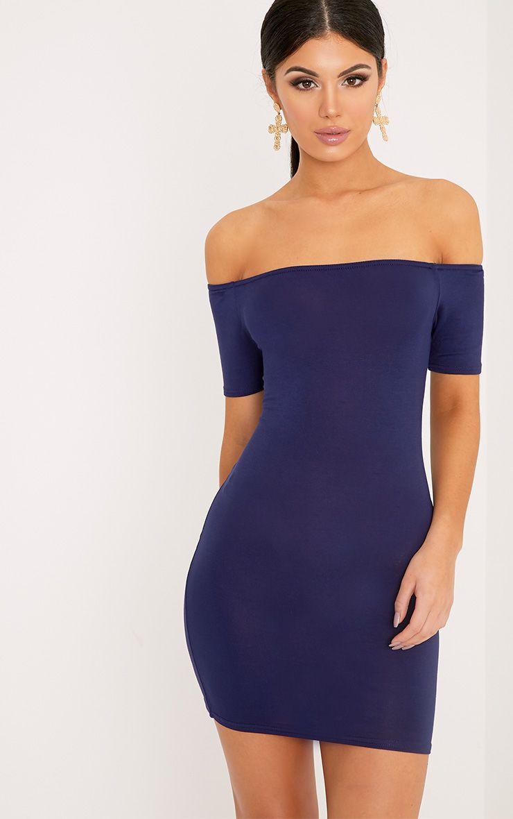 Basic Navy Short Sleeve Bardot Bodycon Dress 1